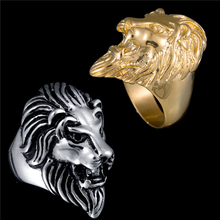 2017 Retro Big Lion Head Finger Rings Never Fade Stainless Steel Vintage Biker Friendship Rings For Men Party Gifts