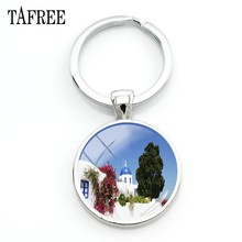 TAFREE Santorini Island Scenery Keychain beautiful snow tree house Key Chain great Attentively man women gift Jewelry FA402(China)