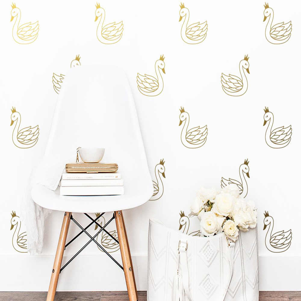 New Design Golden Swan Removable Art Vinyl Wall Stickers For Kids Rooms Home Decor Mural Poster
