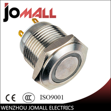 GQ16F-10E/J 16mm LED light metal Ring Lamp type push button switch with flat round(China)