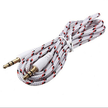 1M White Nylon Braided 3.5 mm Jack Audio Stereo Male Cable Aux Extension Cable Cord for Smartphone with Lower Price