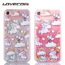 LOVECOM Cartoon Rainbow Horse Dynamic Paillette Glitter Stars Water Liquid Case For iPhone 6 6S 7 7 Plus Plastic Covers(China)