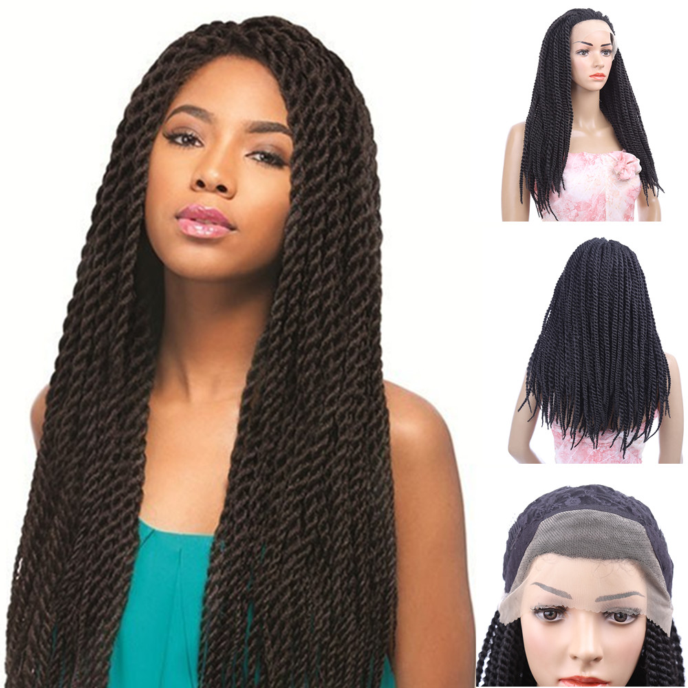 28 Long Senegal Braid wigs Black wig Synthetic Natural Cheap Hair African Braiding Wigs Braided Lace Front wig for Black Women<br><br>Aliexpress