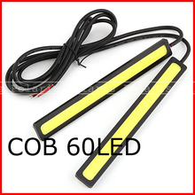 Waterproof cob 60 led 14cm 6W LED Car Daytime Running Light DRL Strip Black&Yellow day time running light lamp