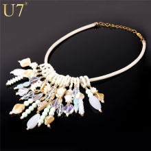 U7 Fancy Sea Shell Necklace Women Jewelry Luxury New Maxi Statement Necklace Choker Bohemia Style N503