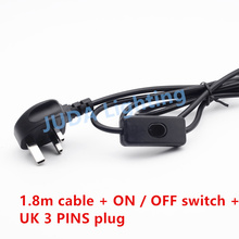 British Standard UK 3 pins plug with on / off button switch cable power wire cord set for table lamp led Lighting Accessories(China)