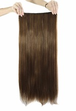 Fashion Latest Light Brown Long Straight Clips On Hair Piece Extension