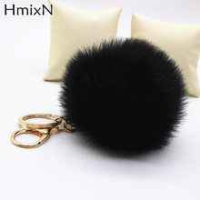 2017 New Rabbit Fur Ball Keychain Bag Plush Car Key fur Pom Poms key chain Ball Bag natural Ornament Pendant pompom Key Ring