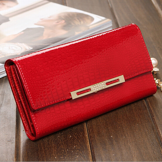 Luxury Famous Brand Designer Shining Patent Leather women wallets Cowhide Alligator Pattern Clutch bag with multi cards pockets<br>