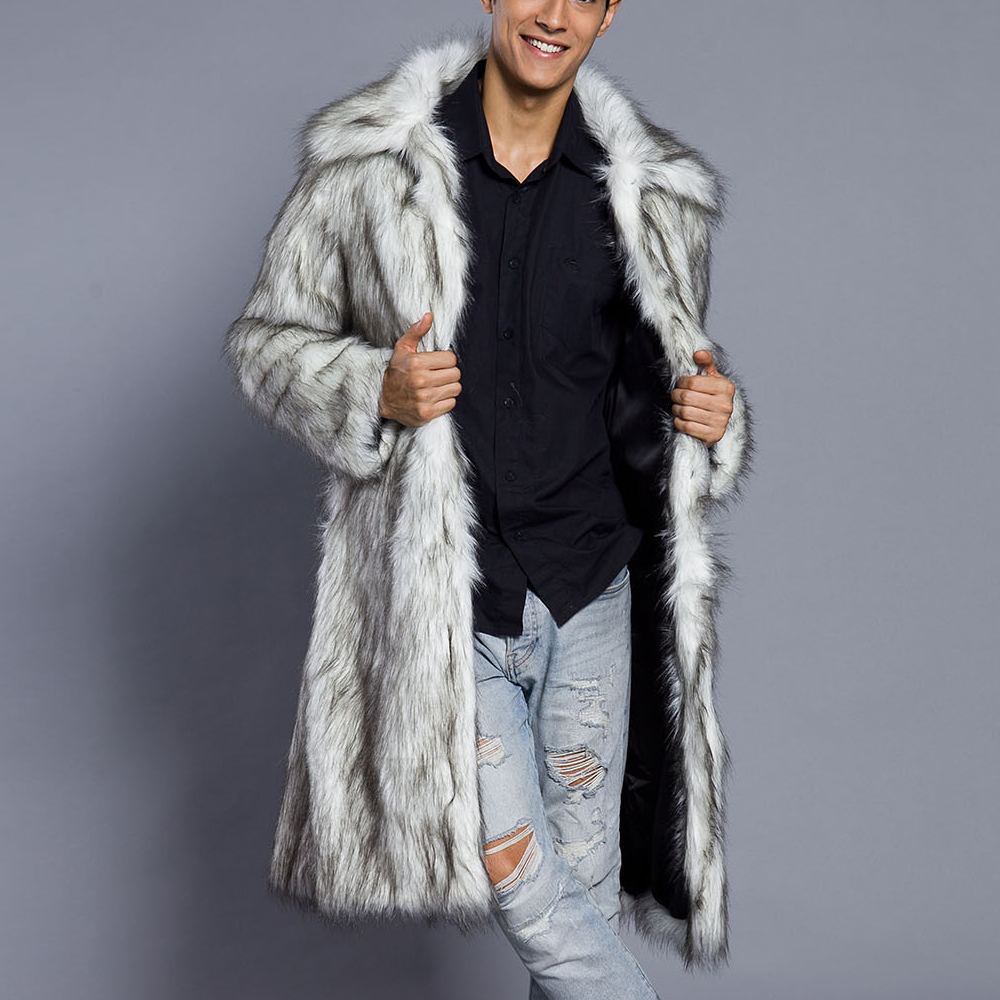 2017 Mens Fox Fur Long Coats Winter Outwear Thick Coat Men Casual Parka Jackets Leather Warm Overcoats Recoon Fur Brand Clothing