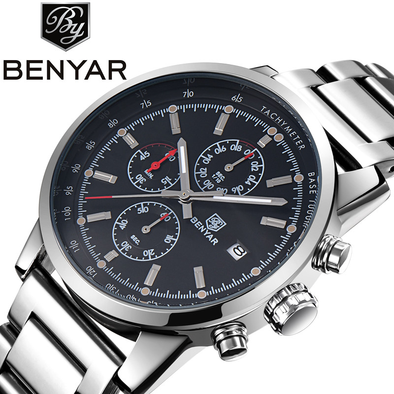 Benyar Hot Mens Watches Military Army Top Brand Luxury Sports Casual Waterproof Mens Watch Quartz Stainless Steel Man Wristwatch<br>