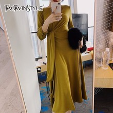 Buy TWOTWINSTYLE Lace Dress Womens High Waist O Neck Long Sleeve Draped Ankle Length Dresses Spring Female Fashion Korean Clothes for $32.79 in AliExpress store