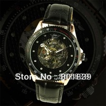 Automatic / Wind Up Skeleton Black Leather Mechanical Mens Wrist Watch Nice Xmas Gift Wholesale Price A418(China)