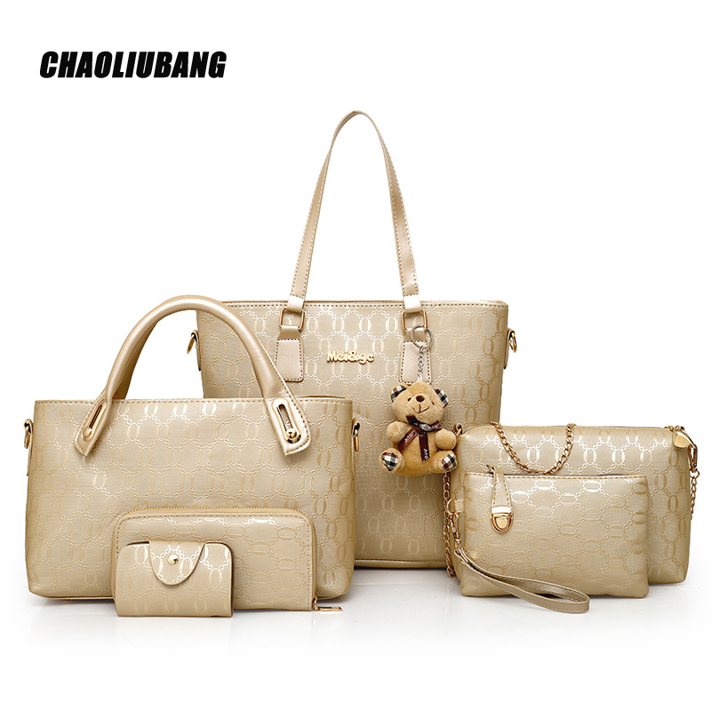 2018 New Women Shoulder Bags PU Leather Handbags Fashion Female Purse High Quality Six-Piece Set Designer Brand Bolsa Feminina48<br>