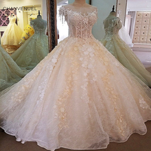 Buy LS00063 Gorgeous champagn bridal gown 3D flowers short sleeves ball gown lace wedding dress vestidos de noivas real photos for $284.57 in AliExpress store
