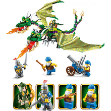 2017 New block Building Block War of Glory Castle Knights twin-headed dragon Jakiro 4 Figures 486pcs Educational Bricks Toys