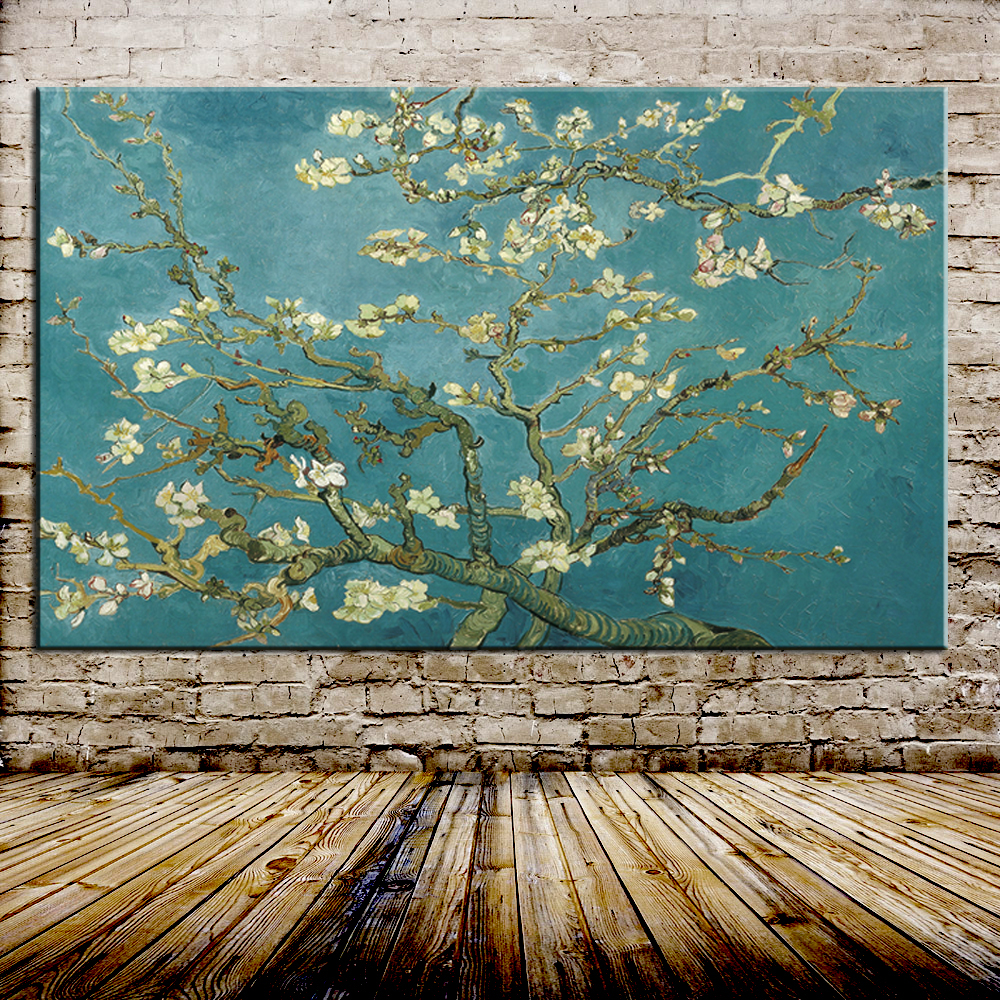Blossoming Almond Tree Oil Painting Of Vincent Van Gogh Reproduction Oil Painting On Canvas Wall Art Picture For Home Decoration(China)