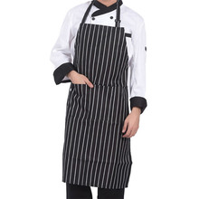 Stripped Chef Aprons with 2 Pockets Sleeveless Adult Men Women Apron Kitchen Cooking Tools Plaid Polyester Bibs(China)