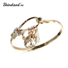"Shineland New Fashion Tree of Life Bracelet Gold Silver Color Carved Letter ""Happy""Vintage Cuff Bangle&Bracelet For Women Gifts"
