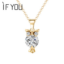 IF YOU Trendy Gold Color OWL Necklace Pendants with Crystal CZ bijoux For Women Silver Color Animal Chain Dropship Jewelry Gift