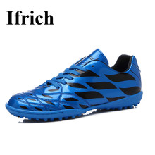 Ifrich Soccer Shoes Kids Men Leather Football Turf Shoes Black Blue Football Cleats Training Boots Cheap Boys Children Tf Shoes