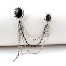 SHUANGR Vintage Muti-layer Chain Brooches Pin with Large CZ Zircon Pendent waterdrop Rhinestone Unique Black jewelry Brooch