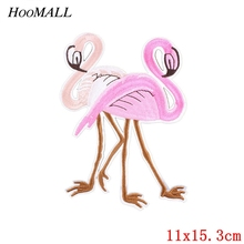 Hoomall 1PC Flamingo Pink Patches For Clothing Iron On Patches Applique Sticker Backpack Hats Jeans Sewing Accessories