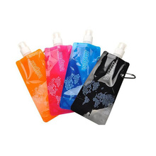 6 Colors Foldable Water Bottle Bag 480ML Environmental Protection Collapsible Portable Water Bag Sports Water Bottle for Hiking