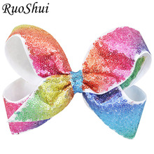1Pc Boutique Pretty Hair Bows Rainbow Hair Clips With Sequins Hairpins Girls Kids Hair Accessories Newest Festival Birthday Gift