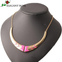 Double C. Fashion Statement Necklaces Personality Crescent Necklace Short Collares Women Necklace Gold Chain N1755