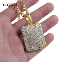 New Bling Full Bright Crystal Square Pendant Necklace Hip Hop Chain Gold Metal Necklace For Male Female(China)