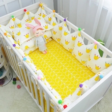7 pcs Cotton Baby Bedding Complete Set Top Grade Baby Cot Crib Linens Include Crown Bumpers Bed Sheet Pillow Quilt with Filling