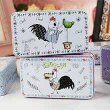 Adorable Children Hand Paint Tin Storage Box 10Piece/Lot Cute Chicken Mac Cosmetics Organizer Metal Tea Box Pill Box Sundries