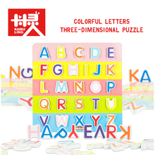 30*30CM Large 3D Wooden Puzzles English Alphabet Puzzle Alphabet Grasp Board Kids Early Educational Toys Candy Colors(China)