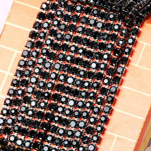 3mm10yards/lots Sew On  Black Rhinestone Chains Crystal Strass Chain Sew On Gold Base For Garment Bags Free Shipping ZL18