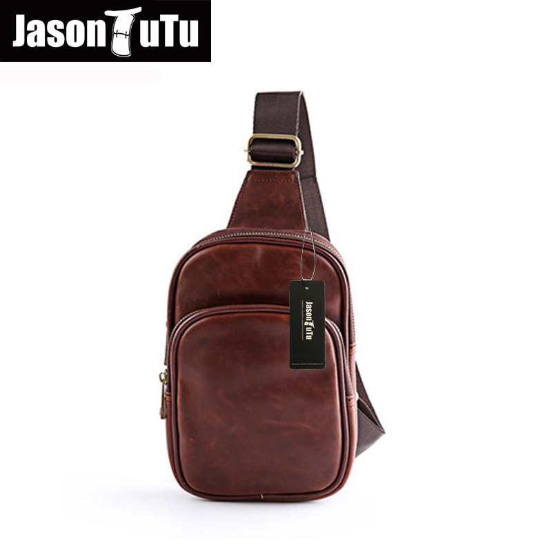 JASON TUTU Vintage Shoulder Bags Casual Mens Chest Pack Crazy horse PU leather Bags Multifunctional Male Messenger Bags B22<br><br>Aliexpress
