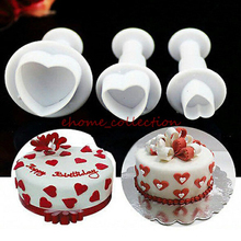 3pcs Love Heart Shape Cookie fondant plunger cutters Christmas Gigt Sugar Craft cupcake Decorating tools cake mold cookie cutter