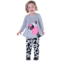 KLV Children Girls Clothes Set Brand Fahion Discount Toddler Kids Baby Girls Autumn Outfits Clothes T-shirt Tops Dress+Pants