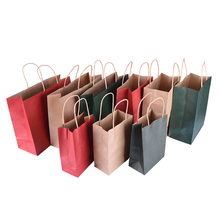 1Pc 3 Colors Paper bag with handle Flower Christmas wedding party favor gifts candy paper bags Multifunctional bags 3 Sizes(China)