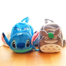 Cartoon Mickey Stitch Totoro backpack toy plush animal backpack for children The kids shoulder bag(China)