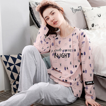 New Fashion Autumn And Winter Casual Pajamas Sets Long Sleeve Round Neck 100% Cotton Women Big Yards Pajamas(China)