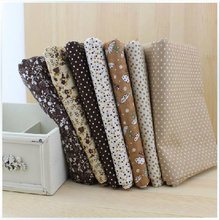 FREE SHIPPING 7 Pieces/lot 50cm x 50cm Vintage brown Cotton Fabric Fat Quarter Bundle Patchwork Fabric Tilda Cloth Quilting(China)