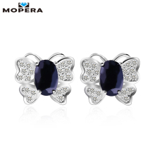 Mopera Butterfly Shape 1.4 Ct Oval Natural Dark blue Sapphire Earrings For Women 925 Sterling Silver Gemstone Stud Earrings(China)