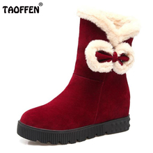 TAOFFEN Women Mid Calf Flats Boots Bowtie Thick Fur Flats Boots Warm Shoes For Cold Winter Shrt Botas Woman Footwearsize 34-39