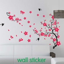 1 set Large Swallow Plum Blossom Wall Sticker for Bed Room Decoration & PVC Home Decal Cherry Blossom Sticker