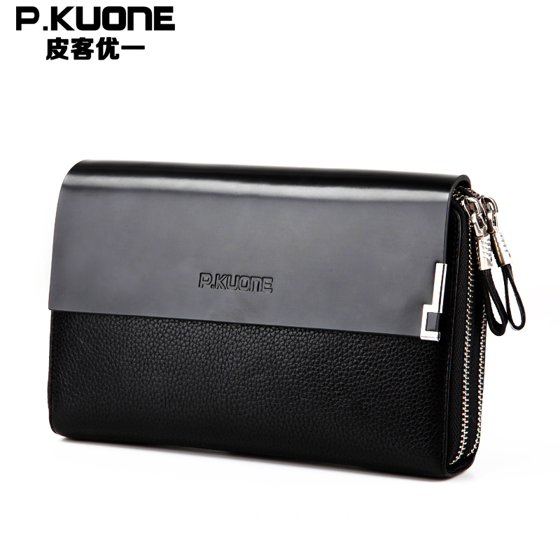 P.kuone Business Double Zipper Genuine leather Men Day Clutch Bag/Fashion Handbag Large Cowhide Leather Wallet Top Brand Design <br>