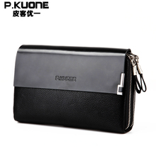 P.kuone Business Double Zipper Genuine leather Men Day Clutch Bag/Fashion Handbag Large Cowhide Leather Wallet Top Brand Design(China)