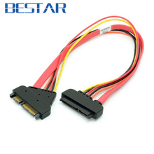 Red Color SATA 3 III 3.0 7+15 22 Pin 22p SATA power Male to Female Data Extension Cable SATA Cable 30cm sata power cable cables