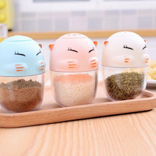 Cute Plastic Cat Spray Seasoning Cans Salt Shaker Bottle Condiment Spices Storage Container Kitchen Barbecue Supplies ZA3177(China)