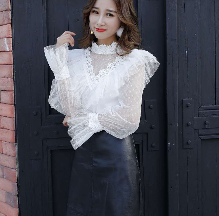 Blouses & Shirts Neploe Lace Patchwork Bow Chiffon Blouse Flare Sleeve Ruffles Single Breasted Women Tops Stand Collar Bandage New Blusas 68442